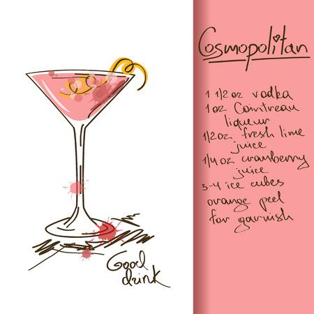 Ilustración con la mano dibujada cóctel Cosmopolitan Ilustración de vector