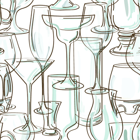 nonalcoholic: Seamless pattern of hand drawn transparent cocktail glasses Illustration