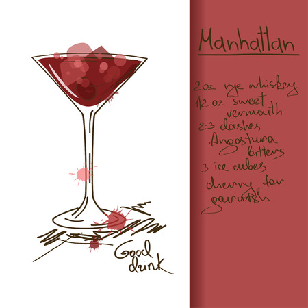 Illustration with hand drawn Manhattan cocktail Ilustração