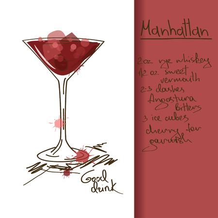 Illustrazione con disegnata a mano di Manhattan cocktail Archivio Fotografico - 23499321