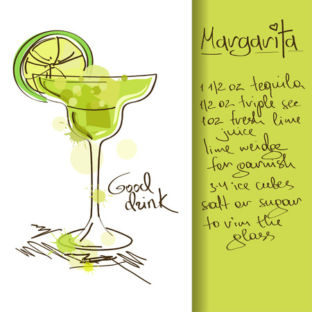 Illustration with hand drawn Margarita cocktail Иллюстрация