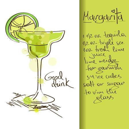 coctel de frutas: Ilustraci�n con la mano dibujada Margarita c�ctel
