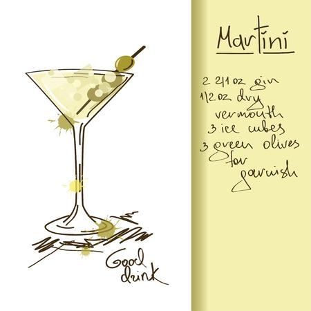 マティーニ カクテルを片手に手描きイラスト