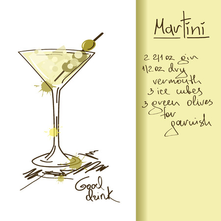 Illustration with hand drawn Martini cocktail Ilustração