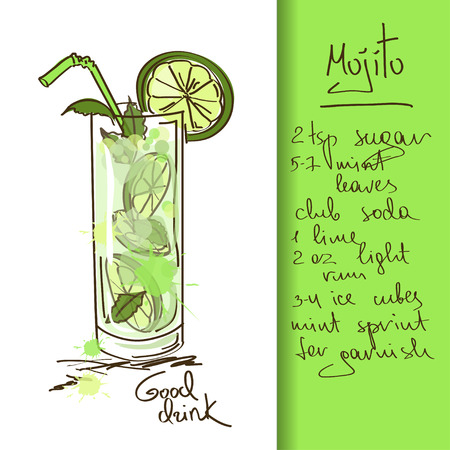 Illustration with hand drawn Mojito cocktail Иллюстрация