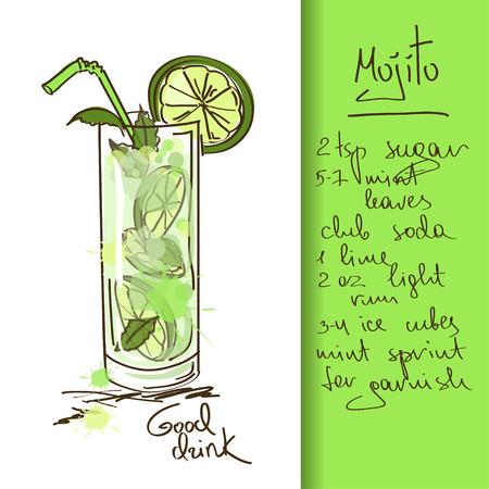 coctel de frutas: Ilustraci�n con la mano dibujada Mojito c�ctel Vectores