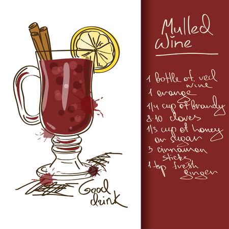 Illustratie met de hand getekende Glühwein cocktail