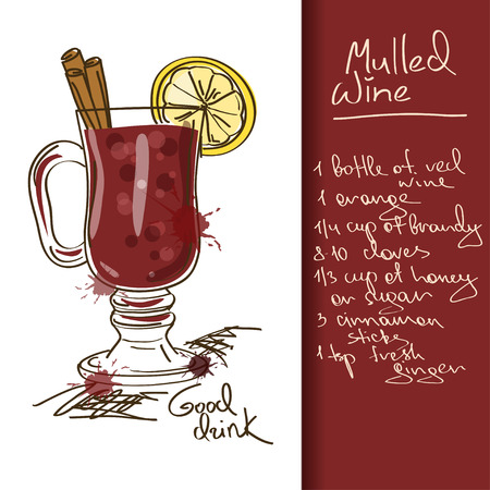Illustration with hand drawn Mulled Wine cocktail