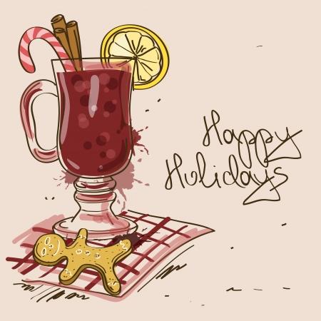 Winter-Illustration mit Glühwein Cocktail, Gewürze und Lebkuchen Mann Cookies