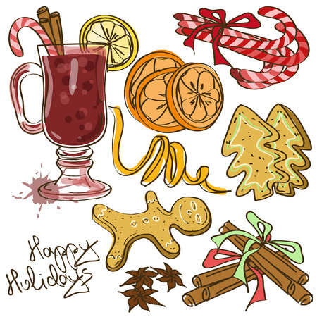 Set of icolated icons with ingredients for Mulled Wine cocktail and cristmas cookies Vector