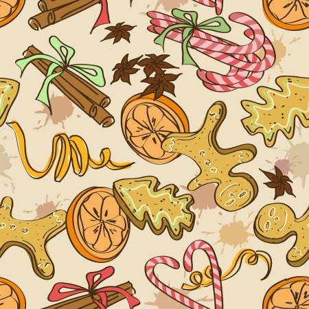 Seamless pattern of christmas cookies, sweets, orange and spices Vector