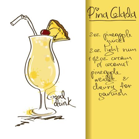Illustratie met hand getrokken Pina Colada-cocktail