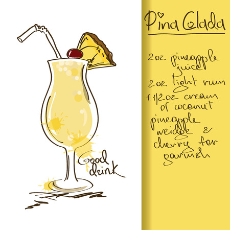 cocktail glasses: Illustration with hand drawn Pina Colada cocktail Illustration