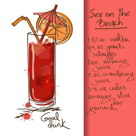 해변 칵테일 손으로 그린 섹스 그림