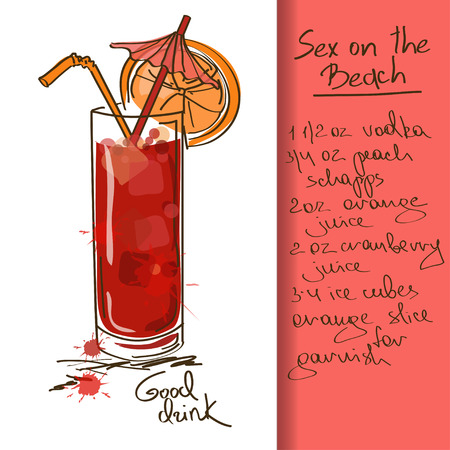 Illustratie met de hand getekende Sex on the Beach cocktail