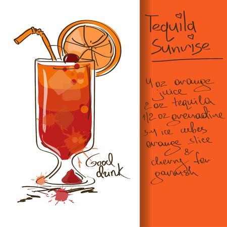 Illustratie met de hand getekende Tequila Sunrise cocktail