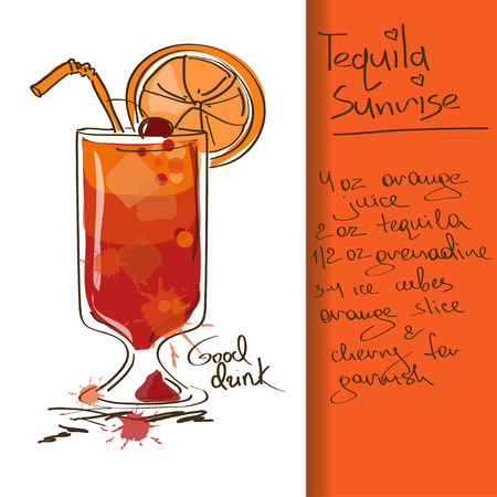 a straw: Illustration with hand drawn Tequila Sunrise cocktail