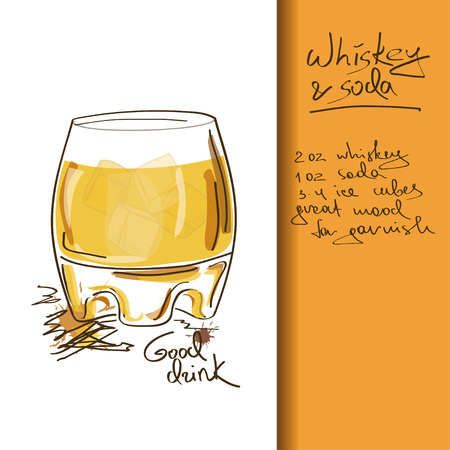 Illustration with hand drawn Whiskey and Soda cocktail Ilustração