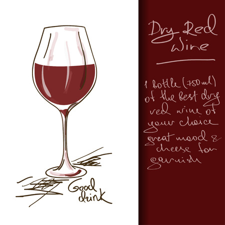 cocktails: Illustration of hand drawn Wine cocktail Illustration