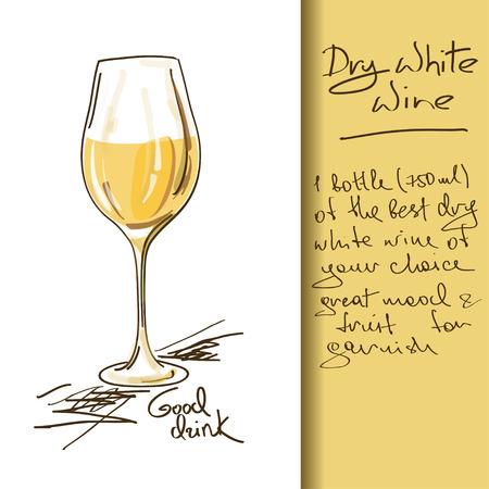 Illustratie van de hand getrokken Wijn cocktail Stock Illustratie