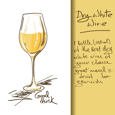 Illustration of hand drawn Wine cocktail