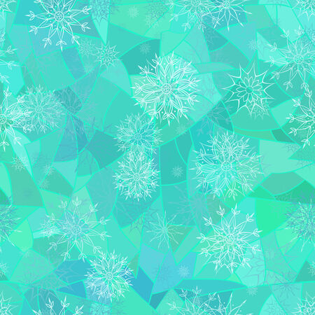 Winter seamless pattern of snowflakes on blue mosaic background Vector