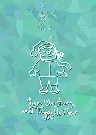 Christmas and New Year card with child enjoy the snowfall on blue frost mosaic background Vector