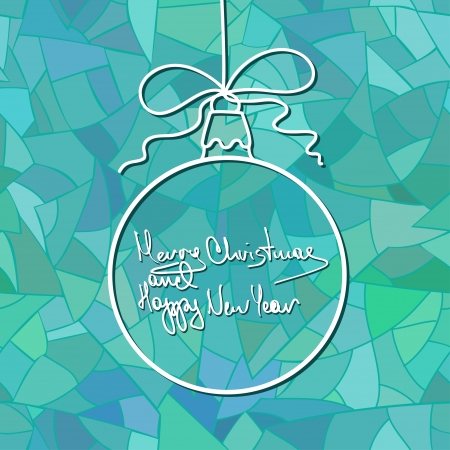 New Year card with Christmas ball decoration on blue mosaic patterned background Vector