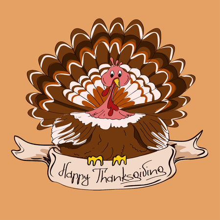 Thanksgiving card or icon with isolated turkey bird  Vector