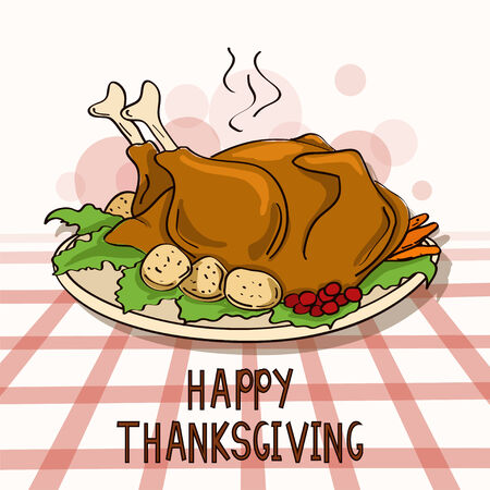 Thanksgiving card with roasted turkey bird and vegetables Vector