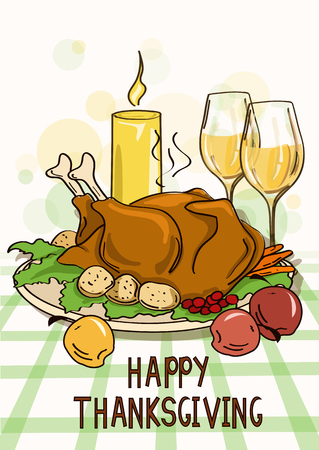 thanksgiving dinner: Thanksgiving card with roasted turkey bird, vegetables, wine and candle