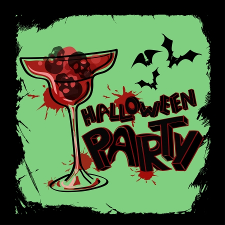 Scary grunge Halloween party poster with hand lettering, blood cocktail and skulls Vector