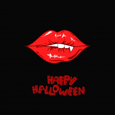 Minimalist Happy Halloween poster with red sexy vampire lips Vector