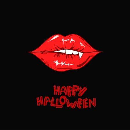 vampira sexy: Minimalista del cartel de Halloween feliz con los labios rojos atractivos del vampiro Vectores