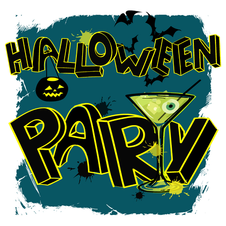 Scary grunge Halloween party poster with hand lettering, cocktail and pumpkin Vector