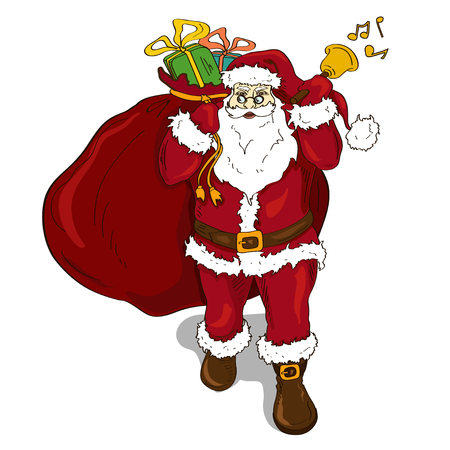 Illustration with isolated classic Santa Claus with bell and carrying sack full of gifts Vector