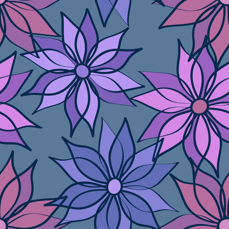 aster: Floral seamless pattern of aster flowers