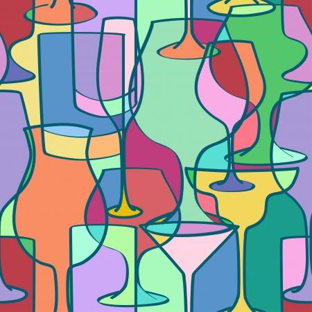 Seamless pattern di bicchieri da cocktail colorati in forme geometriche