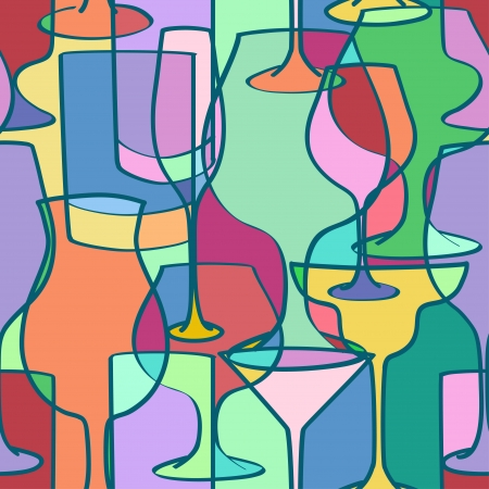 Seamless pattern of colorful cocktail glasses in geometric shapes