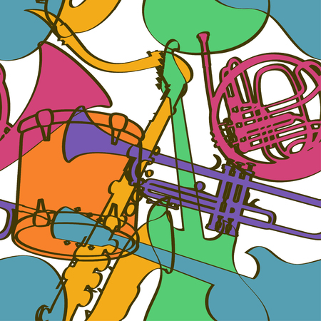 Seamless pattern of colorful musical instruments on a white background Vector