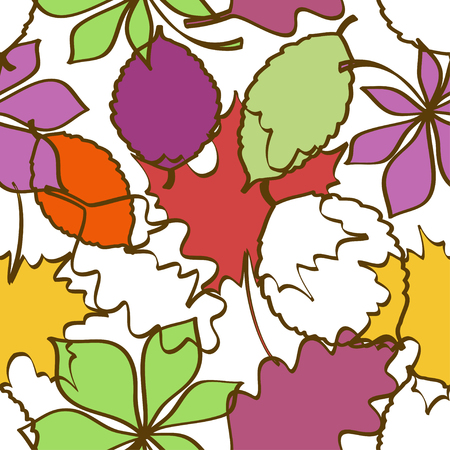 rowan: Seamless pattern of colorful outline autumn leaves on a white background Illustration
