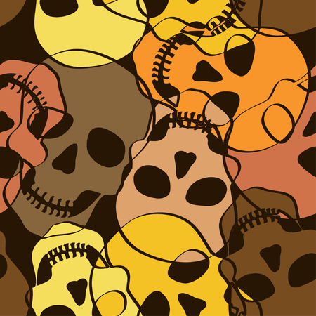 Seamless pattern of abstract funny skulls Vector