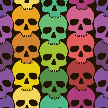 Seamless pattern of funny colorful skulls Vector