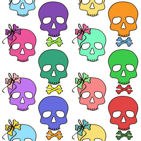 futuristic girl: Seamless pattern with colorful girl and boy skulls and crossbones on a white background