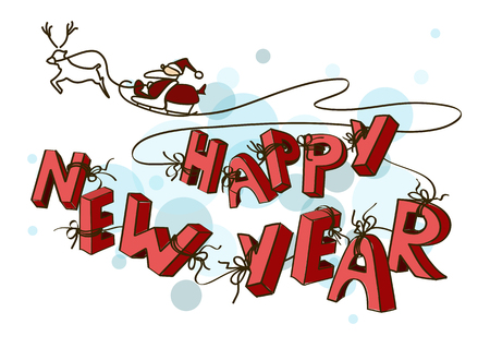 sledge: New Year card with Santas sleigh and tied behind hand drawn letters happy New Year
