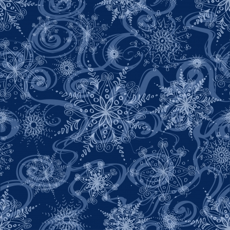 Seamless pattern with whirl of openwork snowflakes and frost Vector
