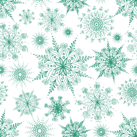 Seamless pattern of blue openwork snowflakes on a white background Vector