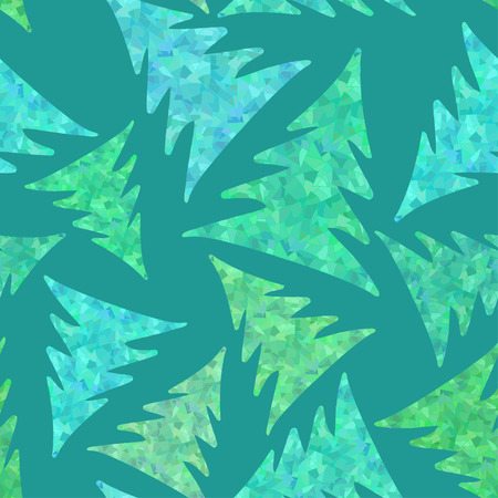 trees illustration: Seamless pattern of winter mosaic fir trees