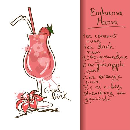 バハマママ カクテルを片手に手描きイラスト