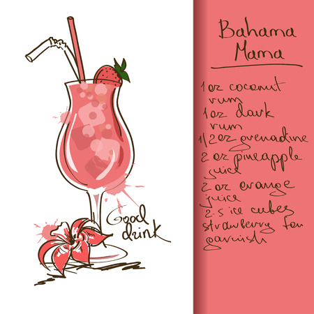 Illustration with hand drawn Bahama Mama cocktail